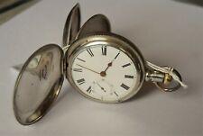 Antique Silver Waltham Hunter Pocket Watch.1890.Deuber Case Size 18. Working.