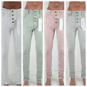 Jewelly Damenjeans Frühling Sommer Pastell Farbig Baumwolle Knopfleiste Stretch