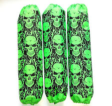 Shock Protector Covers Polaris Pro R Pro X Neon Green Skulls Snowmobile Set of 3