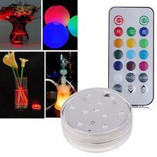 10LED Multicolore Lumière étanche Submersible RGB Vase Lampe avec Télécommande