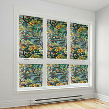 3D Flower Window Film Privacy Stained Static Glass Film Bathroom Window Decor