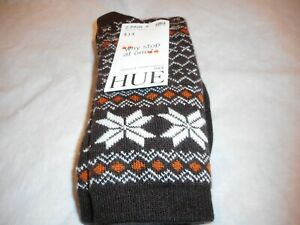 N/W/T 2 Pair Hue Women's Espresso Fairisle Tipped Boot Sock Size O/S