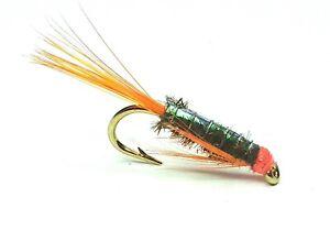 DIAWL BACH ORANGE FLASHBACK TROUT FISHING FLIES - SIZE 10