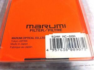 52mm Marumi Japan Multi-Coated 80A 80-A Balancing Blue Glass Lens Filter 52 mm