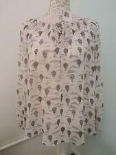 Wallis Ivory Hot Air Balloon Print Chiffon Blouse Size M