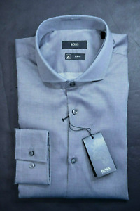 Hugo Boss Men's Jason Slim Fit Fresh Active Charcoal Cotton Dress Shirt 41 16