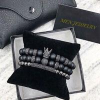 Women Men Fashion CZ  Imperial Crown Charm Bracelet 8MM Labradorite Stone Set