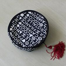 Auth COCO CHANEL Logo White Black Cotton Round Cosmetic Makeup Bag with Tassel