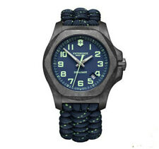 New Victorinox INOX Carbon Blue Dial Paracord Style Men's Watch 241860