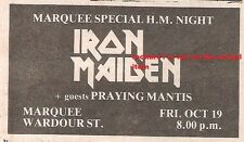 IRON MAIDEN UK TIMELINE Advert - Marquee Friday 19-October-1979 2x3 inches