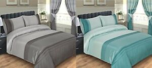 DUVET COVER BED SET OPAL - DOUBLE KING SUPER KING SILVER GREY CHARCOAL DUCK EGG