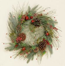 ICY Long Needle PINE CHRISTMAS WREATH With Red JINGLE BELLS, BERRIES, Pine Cones
