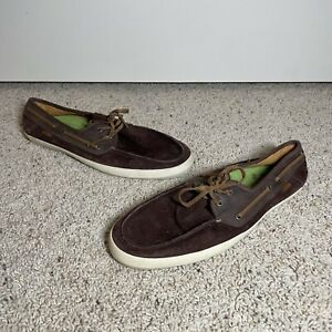 VANS Surf Siders Brown Leather with Green Interior Sole Men Size 11