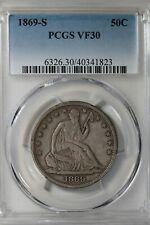 1869 S  50C PCGS  VF 30      Liberty Seated Half Dollar