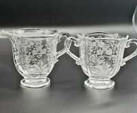 Vintage Fostoria Floral  Pattern Footed Creamer & Open Sugar Etched Glass