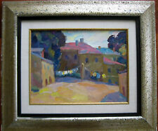 RUSSIAN OIL PAINTING GACHEGOV IMPRESSIONISM LANDSCAPE LAUNDRY COURTYARD 1964