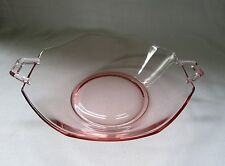 Cambridge Pink Glass Depression Bowl - Double Handle