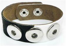 NEU 20cm ARMBAND schwarz-weiß ECHT LEDER Lederarmband KUHFELL Druckknopf ARMBAND