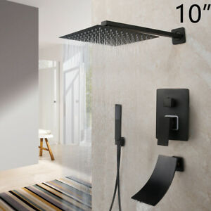 Bathroom Matt Black 10inch Shower Head Faucets Hand Spray Mixer Taps Wall Mount