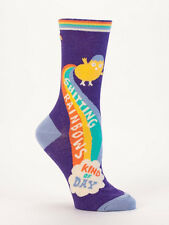 Women's Crew Socks, Shitting Rainbows Kind of Day, Blue Q Cotton One Size Funny