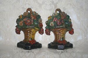"Antique Flower FLORAL Urn Basket CAST IRON Bookends RARE DOOR STOPS ~5.5"" HEAVY"