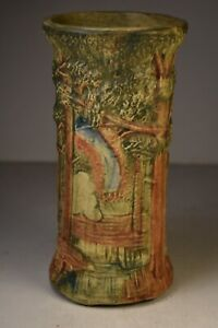 """Weller Forest Vase. 8"""" Tall. Multi-Colored. 1920s. Wonderful Condition."""