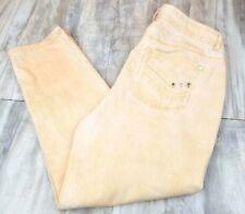 Chico's Platinum Denim Frosted Orange Cropped Rhinestone pocket Jeans Size 1