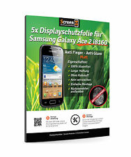 5x lámina protectora para Samsung Galaxy Ace 2 i8160 anti-huellas anti glare Matt