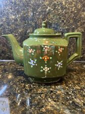 Hand Painted Green Teapot With Raised Moriage Flowers And Gold Accents - Japan