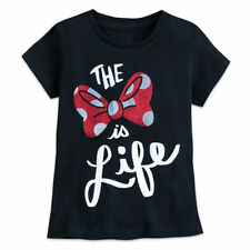 Disney Minnie Mouse ''The Bow Is Life'' T-Shirt for Kids M (7-8) Black Mwt