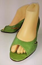 Talbots CAGNEY3 Womens Shoes Heels US 8 M Green Textured Leather Open Toe 5861