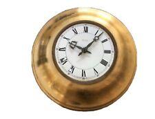 Grande Horloge De Hall D'hotel Doree Et Emaillee 50 Cm Diametre