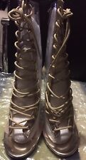 Seethrough Rose Jelly Ankle Gold Lace Boots, Size 5.5/6 .New Condition