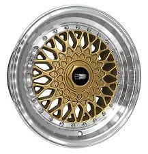 (READ LISTING) 1 - 16x9.0 BBS RS Style Replica Wheels Rims 4x100/5x100 Gold Pol