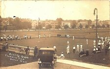 Boston MA Bowling Green Franklin Field Sports Old Car RPPC Postcard