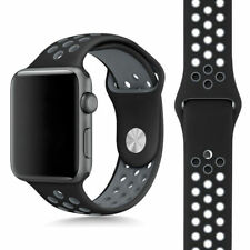 Dark Blue / white Sport Silicone Strap  Band for Apple Watch iWatch 38 MM
