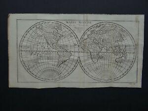 RARE 1781 Robert de VAUGONDY  World map  MAPPEMONDE / Meunier sculp