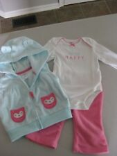 """BEAUTIFUL BABY GIRL 3 PIECE OUTFIT SET """"Always Happy"""" / Owls / 3mo / BNWOT"""