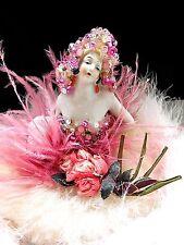 Porcelain Beaded Powder Puff Half Doll  Feathers & Ribbon Work Glass Base