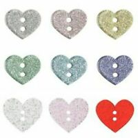 Heart Shaped Glitter Buttons - 2 Hole Flat Craft Sewing 13mm 18mm 32mm Trimits