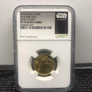 2016 Niue 1/4 oz Gold $25 Star Wars Darth Vader NGC PF70