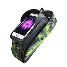 "RockBros Bike Frame Bag 5.8"" Touch Screen Waterproof Front Tube Bag Green"