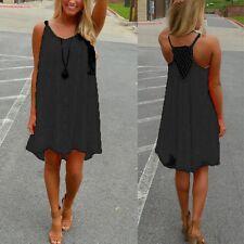 Plus Size 8-24 Women's Casual Sleeveless Evening Party Beach Short Mini Dress Black 18