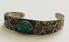 Rare Early Navajo Fred Harvey Era Turquoise Sterling Silver Cuff Bracelet .925