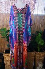 Plus Size Long Sheer Thin Embellished Kaftan Digital Printed Size 14-16-18-20
