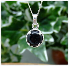 Black Onyx Silver round decorative Pendant Necklace in Sterling silver 18""