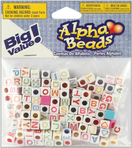 Alphabet Beads 6 Mm White With Multicolor Letters