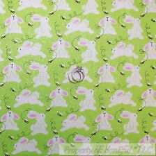 BonEful FABRIC FQ Cotton Quilt Green White Pink S Spring Easter Bunny Rabbit Bee