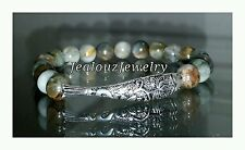 Sterling Silver Lucky Koi Fish Tiger Eye Gemstone Yoga Stretch Bracelet