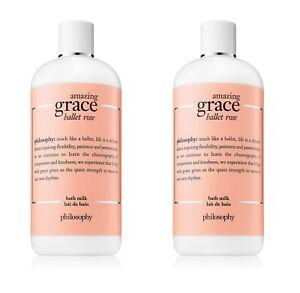 Lot 2x New Sealed Philosophy Amazing Grace Ballet Rose Bath Milk 16oz